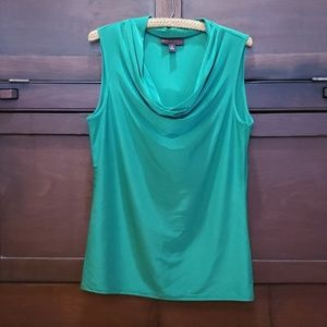 Emerald green cowl-neck tank
